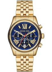 Michael Kors Women's Lexington Chronograph Blue Dial Gold-Tone Watch MK6206