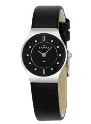 Skagen Black Dial Leather Watch 233XSSLB