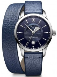 Victorinox Women's Alliance Moon Phase Small Blue Dial Blue Leather Watch 241755