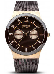 Bering Men's  Brown Dial Stainless Steel Mesh Watch 32139-265