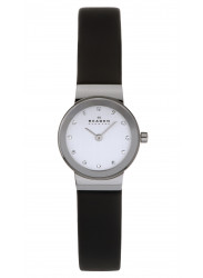 Skagen Women's Black Leather Chrome Dial Watch 358XSSLBC
