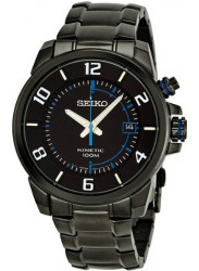 Seiko Men's Kinetic Black Dial Black Ion-plated Stainless Steel Watch SKA555