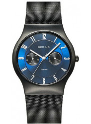 Bering Men's Classic Blue Sunray Dial Black Stainless Steel Mesh Watch 11939-078