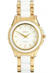DKNY Women's White Dial Ceramic Gold Tone Watch NY8829