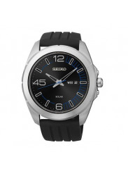 Seiko Solar SNE277P1 45mm Stainless Steel Case Black Silicone Mineral Men's Watch