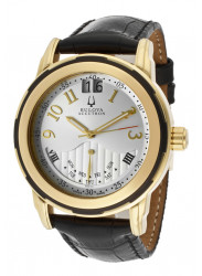 Bulova Accutron Men's Goldplated Black Leather Watch 65C103