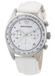 Emporio Armani Women's Chronograph White Leather Watch AR6011