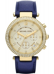 Michael Kors Women's Parker Chronograph Blue Leather Watch MK2280