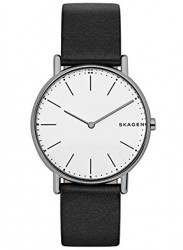 Skagen Men's Signatur Slim Titanium White Dial Black Leather Watch SKW6419