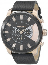Diesel Men's Stronghold Chronograph Black Leather Watch DZ4347