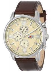 Tommy Hilfiger Men's Chronograph Beige Dial Brown Leather Watch 1710337