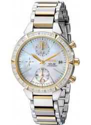 Seiko Women's Solar Chronograph MOP Dial Two Tone Steel Diamond Watch SSC866