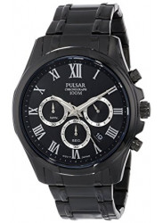 Pulsar Men's Chronograph Black Dial Black Tone Watch PT3401