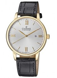 Charmex Men's Amalfi Silver Dial Black Leather Watch CX-3025