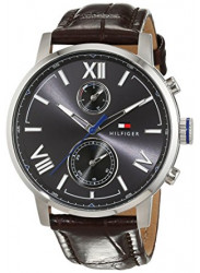 Tommy Hilfiger Men's Grey Dial Brown Leather Watch 1791309