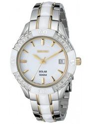 Seiko Women's Solar White Dial White Ceramic Watch SNE880