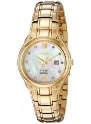 Seiko SUT216 Women's Solar Core MOP Dial Yellow Gold Tone Steel Diamond Watch
