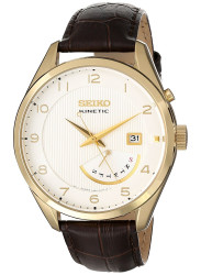 Seiko Men's Kinetic White Dial Brown Leather Watch SRN052