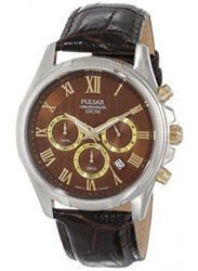 Pulsar Men's Brown Dial Brown Leather Watch PT3397