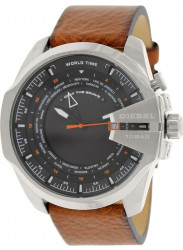 Diesel Men's Mega Chief Brown Leather Analog Quartz Watch with Black Dial DZ4321