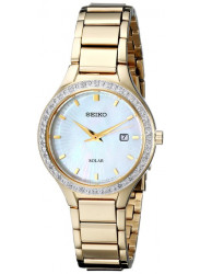 Seiko SUT138 Gold Stainless Steel Solar Mother of Pearl Dial Ladies Watch