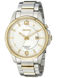Seiko Men's Kinetic White Dial Two Tone Watch SKA672
