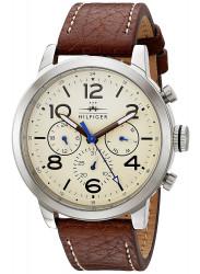 Tommy Hilfiger Men's Jake Beige Dial Brown Leather 1791230