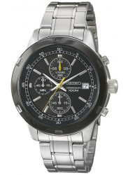 Seiko Men's Chronograph Black Dial Stainless Steel Watch SKS435