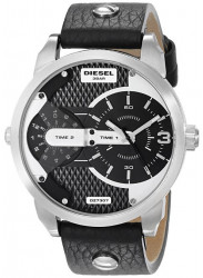Diesel Men's Mini Daddy Black Leather Black Dial Watch DZ7307