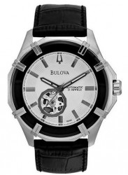 Bulova Men's Automatic Black Leather Strap Watch 96A123
