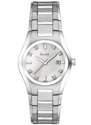 Bulova Women's Diamond Silver Tone Watch 96P108