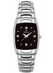 Bulova Women's Diamond Black Dial Stainless Steel Watch 96P15