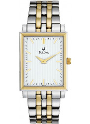 Bulova Men's White Dial Two-Tone Watch 98A115