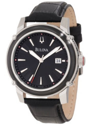 Bulova Men's Black Leather Watch 98B160