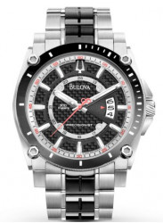 Bulova Men's Black Dial Two Tone Watch 98B180