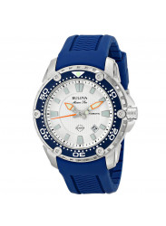 Bulova Men's 98B208 Stainless Steel Automatic Watch With Blue Rubberized Strap