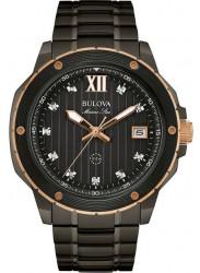 Bulova Men's Marine Star Black Diamond Watch 98D128