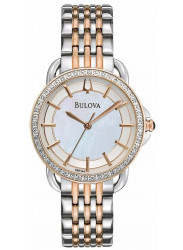 Bulova Women's Two Tone Silver Mother of Pearl Dial Watch 98R144