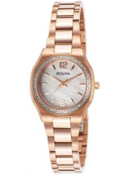 Bulova Women's Mother Of Pearl Dial Rose Gold Tone Watch 98R205