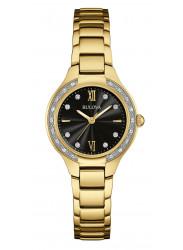 Bulova Women's Maiden Lane Diamond Gold Tone Watch 98R222