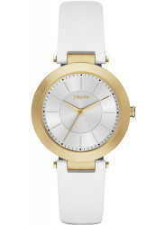 DKNY Women's Silver Dial White Leather Watch NY2295