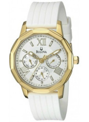 Bulova Women's White Dial Gold Tone Stainless Steel Watch 97N108