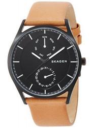 Skagen Men's Holst Brown Leather Black Dial Watch SKW6265