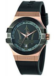 Maserati Men's Potenza Black Dial Black Rubber Watch R8851108002
