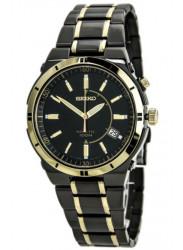 Seiko Men's Kinetic Two Tone Black Dial Watch SKA366