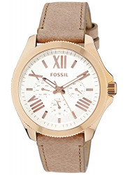 Fossil Women's Cecile White Dial Beige Leather Watch AM4532