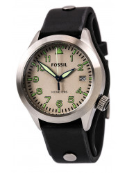 Fossil Men's Aeroflight Beige Dial Black Leather Watch AM4552