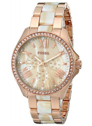 Fossil AM4616 Cecile Rose-Tone & Horn Acetate Stainless Steel Watch