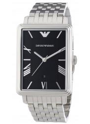 Emporio Armani Men's Black Dial Silver Tone Watch AR1662