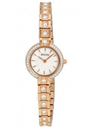 Bulova Women's Crystal Rose Gold Tone Watch 98L215
